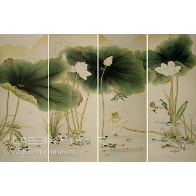 供应王室手绘真丝墙纸 简欧风格效果图 厂家高质量产品批发价格