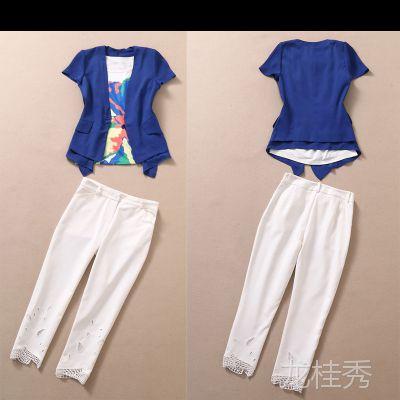时尚女装 印花撞色背心+上衣外套+小脚裤三件套套装 夏装女Y66C9