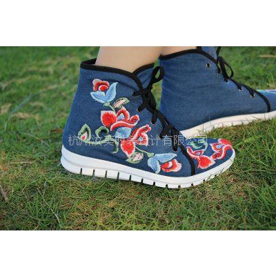 杭州汝美绣花鞋厂新款老北京布鞋单靴短靴圆头平底民族风复古典女靴中国风