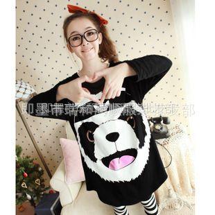 供应2013春夏装新品长袖t恤女款卡通熊猫宽松T恤长款打底衫三叶草