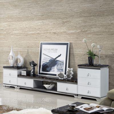 现代简约时尚经典客厅家具钢化玻璃桌面大理石台面不锈钢电视柜A38