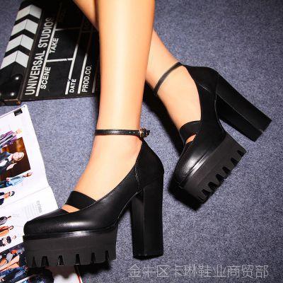 2015欧美新款全真皮单鞋粗跟圆头猪皮里高跟鞋夜店性感女士单鞋潮