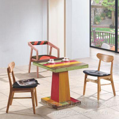 西餐厅桌椅 实木餐桌椅CT690 复古实木西餐厅桌椅 上品家具厂家直销
