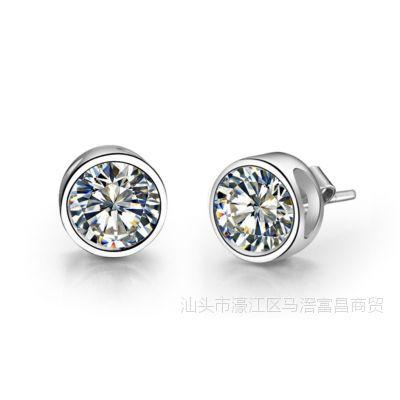正品高碳钻耳钉 纯银镀金高仿真钻包镶1克拉 真钻质感pt950印记