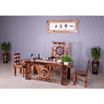 爱玛仕天然石大茶桌批发市场 老船木茶几价格 如月乾坤功夫茶几手工雕刻公司logo