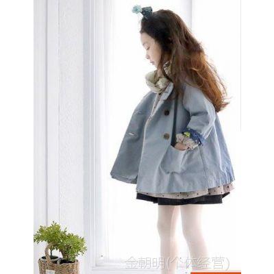 315963 新款 韩版女童风衣 双排扣无领风衣 童装批发