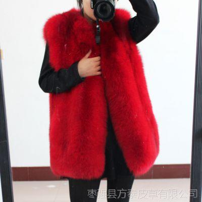 秋冬新款进口狐狸毛皮草外套整皮马甲女装背心中长款修身无袖