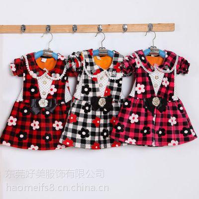 厂家批发冬季加绒加厚童装连衣裙批发保暖打底外穿中童连衣裙