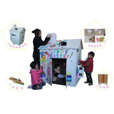 供应儿童DIY益智玩具屋/立体拼装手绘涂色纸屋/房子模型