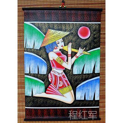 云南民族工艺画 装饰品 (吹葫芦丝东巴皮画60-90)L0532-18