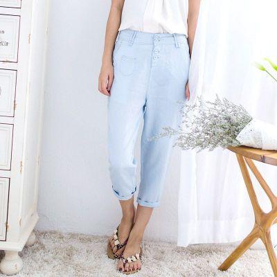 巴勒姆 刺绣亚麻夏装新款休闲裤夏季女裤 7005