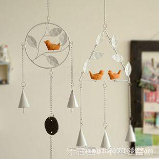 新品 zakka 金属小鸟铃铛风铃挂饰 欧式怀旧 创意家居房间装饰品