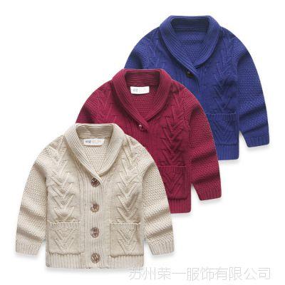 韩版春秋童装新款女童翻领全棉针织开衫宝宝长袖毛衣外套潮批发