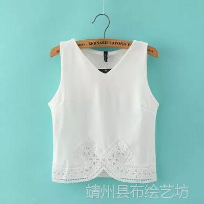 XL8926WI 2015夏季新品 轻熟气质窄边镂空雕花刺绣无袖背心雪纺衫
