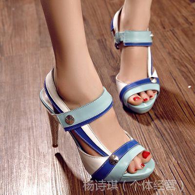 外贸鱼嘴凉鞋欧美时尚风拼色真皮凉鞋欧洲站高跟女凉鞋防水台凉鞋