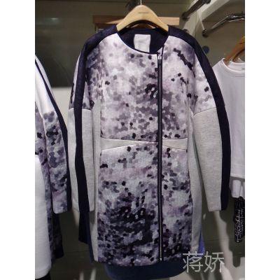 2015百家春季新款时尚圆领百搭中长款女式风衣大衣HPCA121C现货