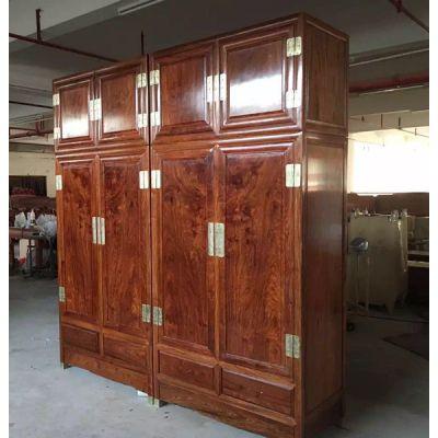 名琢世家古典中式四门顶箱衣柜刺猬紫檀价格图片
