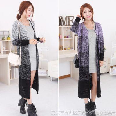 韩国东大门秋冬新款渐变色加长款毛衣女式外套宽松花色线针织开衫