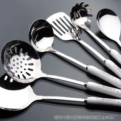 kitty不锈钢厨具陶瓷六件套  面捞 铲 饭勺 炒铲 煎铲 厨房套装