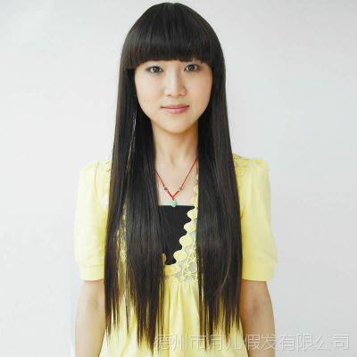 假发女生长直发齐刘海 甜美可爱圆脸女生修脸长发 自然女发型可扎