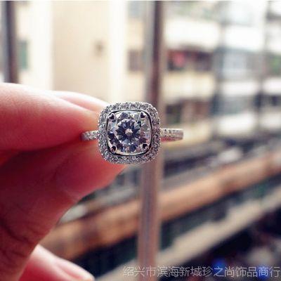 高端定制18K白金首饰克拉钻石女戒指方形镶钻奢华钻戒大牌代理