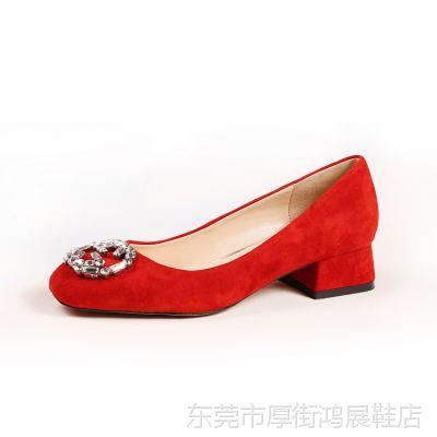 诚招代理加盟2015春夏热卖时尚欧美品牌真皮粗跟大扣子单鞋女鞋