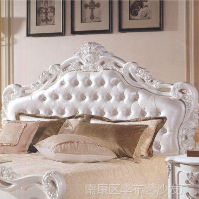 厂家直销 高档欧式实木雕花真皮床双人床 1.8米卧室家具软体床