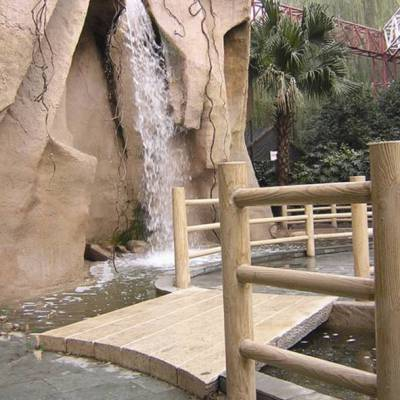 长期供应四川防护水泥仿木栏杆 池塘木栏杆景观园林grc水泥河道栏杆