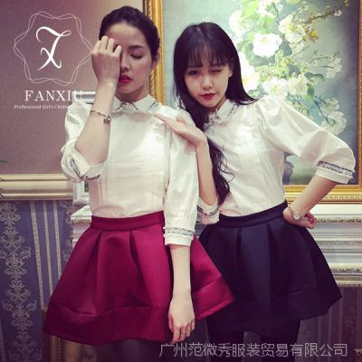 2006韩国东大门代购夏季新款实拍纯色上衣中袖五分袖两穿女款衬衫