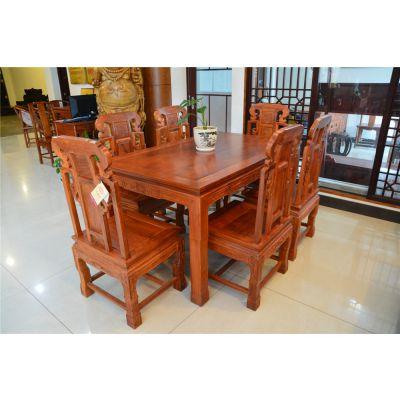 东阳红木餐桌-花梨木餐桌供应-红木餐桌品牌-红木餐桌椅七件套