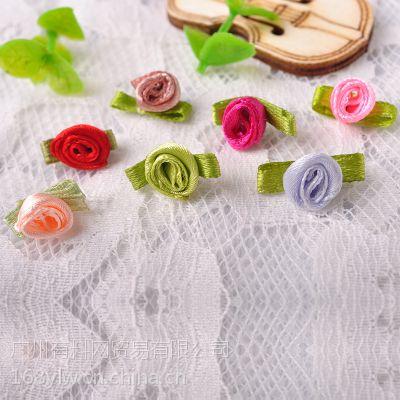 现货直销手/针缝玫瑰花加叶子 手工蝴蝶结 礼品盒包装花饰品