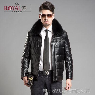 若一 真皮绵羊皮男士皮衣 可脱卸狐狸毛领短款羽绒服 冬外套 包邮