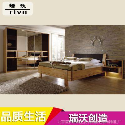 定制韩式家居密度板式床 双人成人套房家私板式床