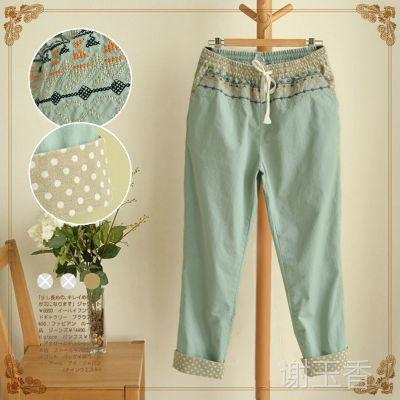 外贸裤子女裤夏季 热销日式森系刺绣棉麻休闲裤女式 夏季新款女装