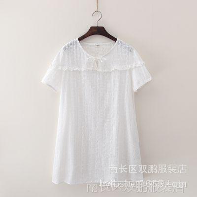 04159日系森林系刺绣系带短袖连衣裙宽松衬衫