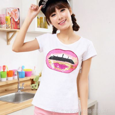 批发短袖纯棉t恤2015夏装韩版修身圆领女式上衣嘴唇T恤 厂家直销