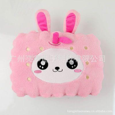 供应什么牌子USB保暖好 伊品堂专利USB加热抱枕 靠垫 粉色苹果兔