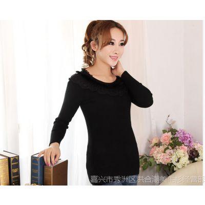 2014秋冬装新款韩版蕾丝兔毛 修身显瘦低领毛衣针织衫 打底衫女