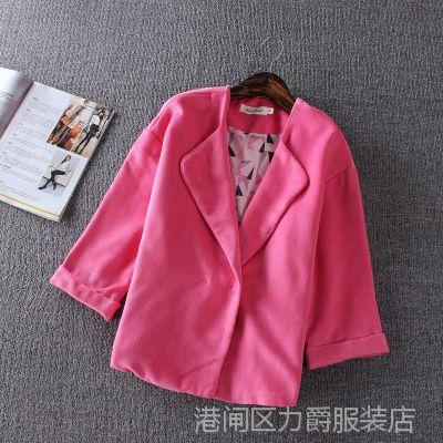 外贸原单 2015冬装新品 毛呢外套女韩版学院风妮大衣短款呢外套女