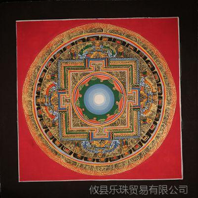 现货 西藏喇嘛手绘唐卡 彩色坛城 时轮曼陀罗彩绘 宫殿 21*21