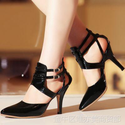2015年夏季欧美真皮女鞋包头高跟女凉鞋尖头脚环帮带气质凉靴批发