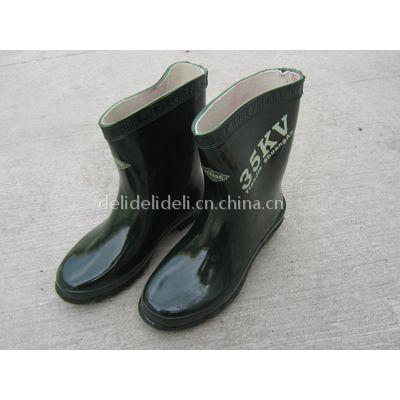 高筒绝缘靴 高压橡胶绝缘靴华建电力机具