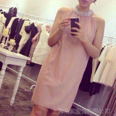 2015高端定制 连*佛在售仙女裙领口全手工钉珠真丝连衣裙夏季