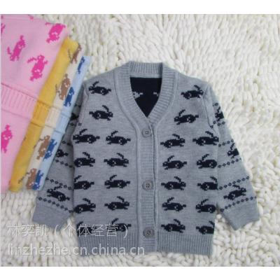 广东毛衣厂家批发童装毛衣 0-2岁婴儿毛衣针织开衫儿童毛衣宝宝卡通图案兔子纯棉保暖童针织衫