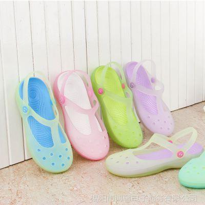 沙滩鞋 2015夏季新款女式凉拖玛丽珍果冻凉鞋 花园洞洞鞋厂家批发