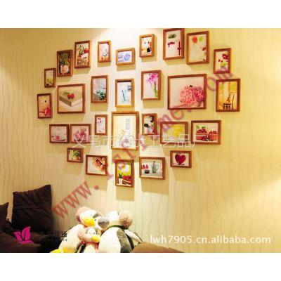 供应彩色印花实木照片墙相框定制 义乌黑白相片墙木质小像架厂价批发