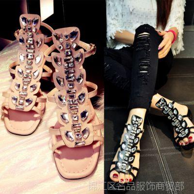 美国代购15夏季平底水钻真皮凉鞋女甜美名媛气质凉靴女鞋一件代发