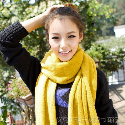 【轻玉龙】纯色仿羊绒披肩 保暖女士围巾 加厚款情侣大版毛线针织
