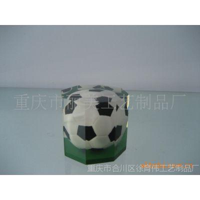 丽美  厂家直销摆饰透明抛光八角足球水晶纸镇