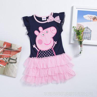 爆款童装一件代待发peppa pig佩佩猪 女童短袖公主连衣裙品牌童裙